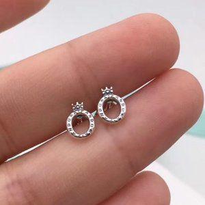 Pandora Polished Crown O Stud Earrings